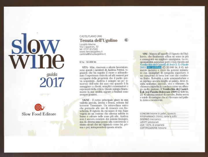The awards Slow Wine 2017 to Tenuta dell'Ugolino