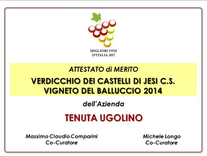 "Vigneto del Balluccio 2014: Certificate of Merit of the Guide ""Best Italian Wines 2017"""