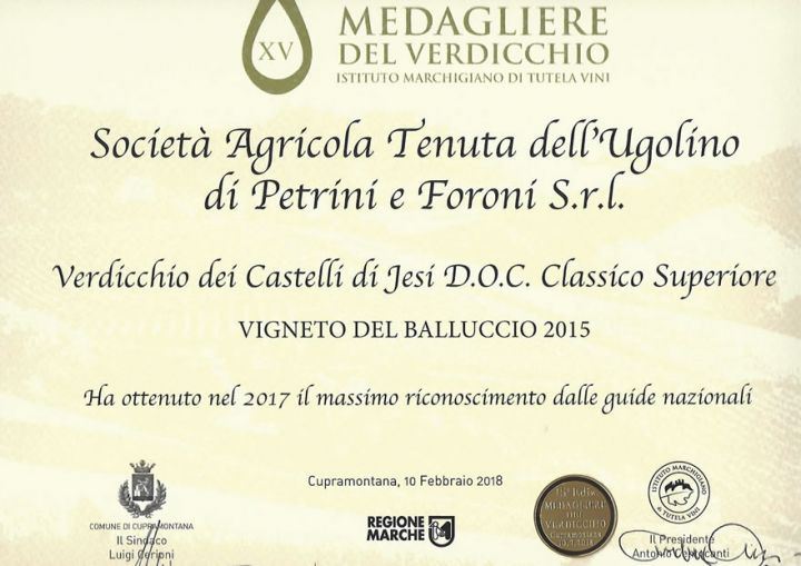 Awards for Vigneto del Balluccio 2015