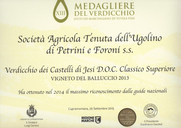 Ancora riconoscimenti per il Vigneto del Balluccio 2013
